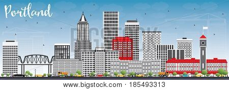 Portland Skyline with Gray Buildings and Blue Sky. Business Travel and Tourism Concept with Modern Architecture. Image for Presentation Banner Placard and Web Site.