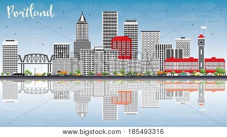 Portland Skyline with Gray Buildings, Blue Sky and Reflections. Business Travel and Tourism Concept with Modern Architecture. Image for Presentation Banner Placard and Web Site.