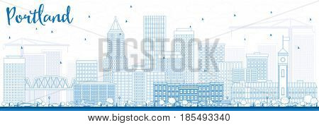 Outline Portland Skyline with Blue Buildings. Business Travel and Tourism Concept with Modern Architecture. Image for Presentation Banner Placard and Web Site.