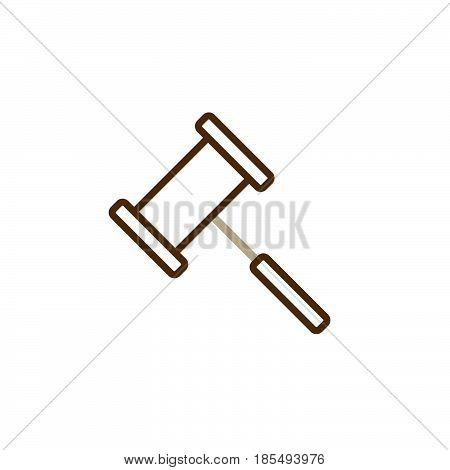 Gavel Line Icon, Judge Hammer Outline Vector Logo Illustration, Linear Pictogram Isolated On White