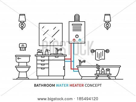 Bathroom water heater geyser vector illustration. Bathroom interior with domestic boiler graphic design.