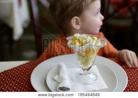 Child Has Fruit Salad