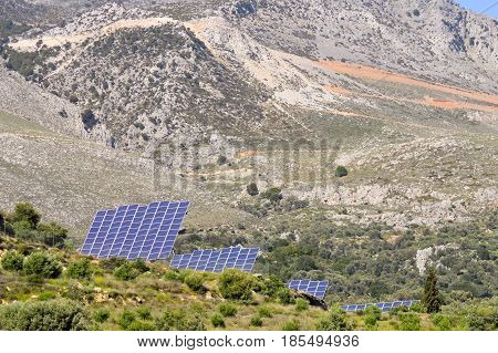 Voltaic panels on a mountain in the center of Crete