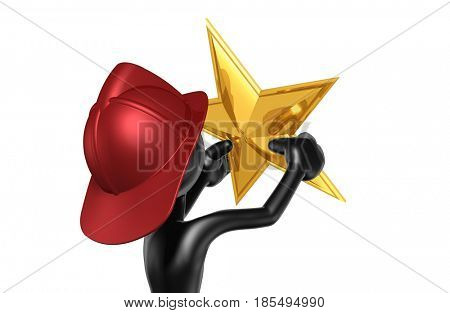 Fireman With A Star The Original 3D Character Illustration