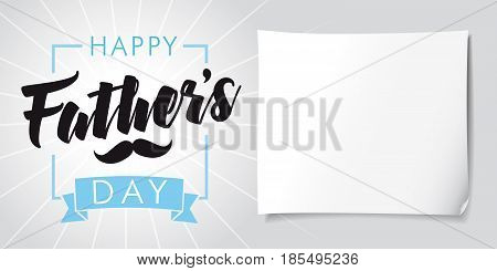 Happy Father`s Day lettering and stripes banner. Fathers day calligraphy greeting template vector illustration, you are the best dad