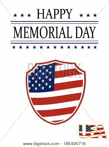 Happy Memory Day card. Illustration in honor of the national holiday of the United States with a shield in the style of the US flag. Festive postcard. Vector illustration