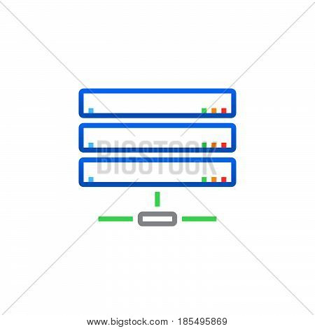 Server Line Icon, Network Storage Outline Vector Logo Illustration, Linear Pictogram Isolated On Whi