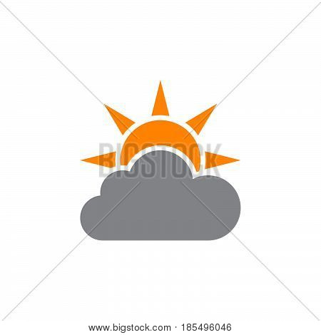 Weather Forecast Icon Vector, Partly Cloudy Solid Logo Illustration, Colorful Pictogram Isolated On