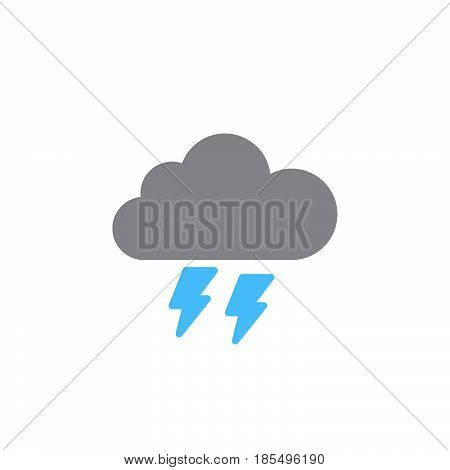 Thunderstorm Icon Vector, Solid Logo Illustration, Colorful Pictogram Isolated On White