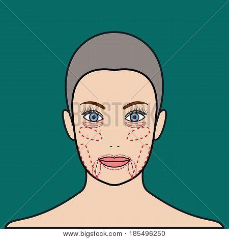 Face rejuvenation. Plastic surgery beauty. Vector illustration.