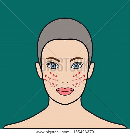 Beauty injections. Cosmetic thread in face. Plastic surgery lift of face. Beautiful face of woman with dotted lines. Vector illustration.