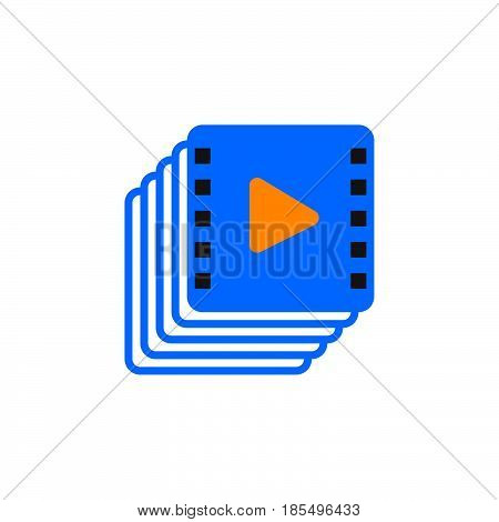 Video Collection Icon Vector, Playlist Solid Logo Illustration, Colorful Pictogram Isolated On White