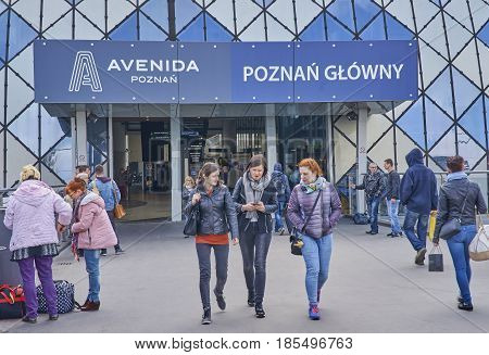 Poznan, Poland - May 1, 2017: Train And Bus Station On 1 May 201