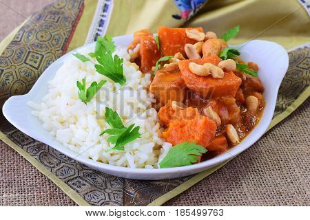 Ephiopian ragout with sweet potato, chicken and peanuts. Traditional food. Healthy eating concept