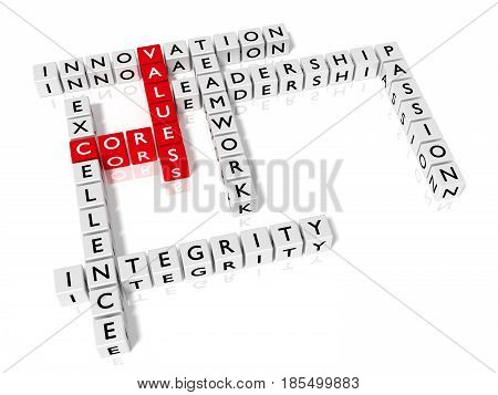 Crossword puzzle showing core values keywords as dice on white business concept 3D illustration
