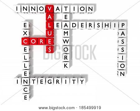 Crossword puzzle showing core values keywords as dice on white business concept flat view 3D illustration