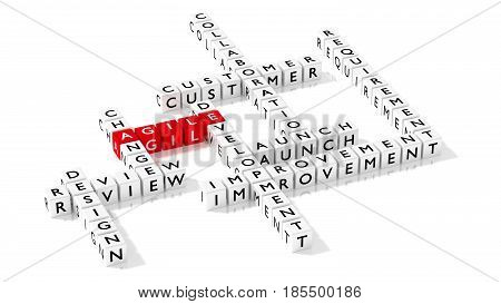 Crossword puzzle showing agile development keywords as dice on white business concept 3D illustration