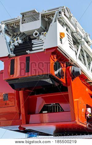 Hydraulic Ladder Of Fire Engine Rear View