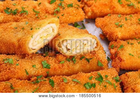 Crispy Chicken Cheese Breaded Roll-ups, Close-up