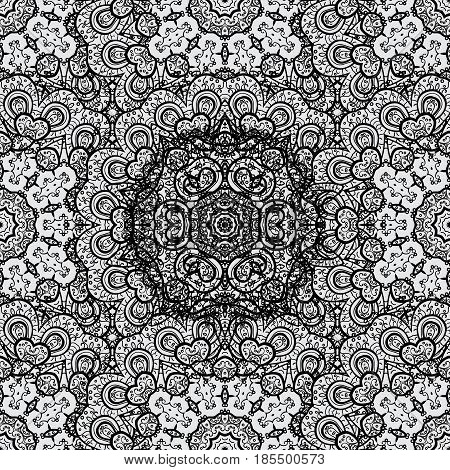 Vintage baroque floral seamless pattern in dim over gray. Luxury royal and Victorian concept. Dim element on gray background. Ornate vector decoration.