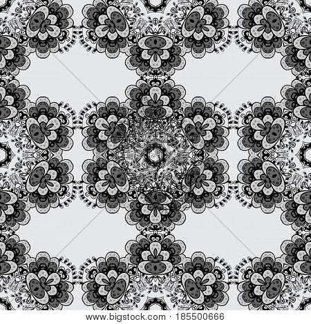 Dim seamless pattern on gray background with dim elements. Vector abstract background with repeating elements. Vector illustration. Seamless damask classic dim pattern.