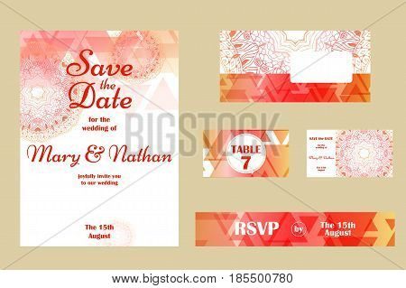 Set of wedding invitations. Wedding cards template with individual concept. Design for invitation, thank you card, save the date card.