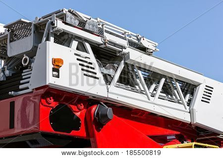 Hydraulic Ladder Of Fire Engine. Rescue Fire Truck Details.