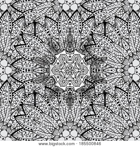 Seamless damask classic dim pattern. Dim seamless pattern on gray background with dim elements. Vector illustration. Vector abstract background with repeating elements.