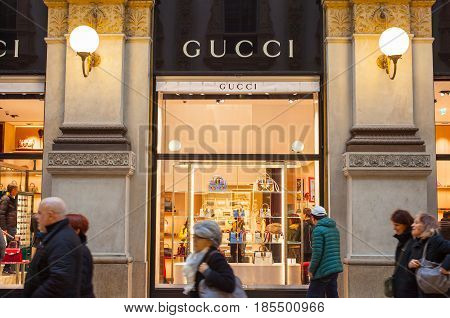 MILAN ITALY - FEBRUARY 26: Shop windows of Gucci store in the Vittorio Emanuele II gallery on february 26 2017