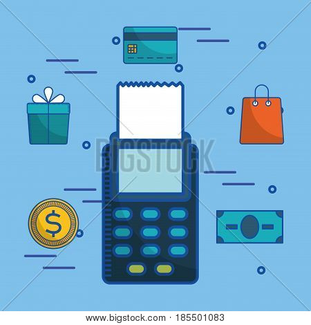 dataphone and shopping related icons over blue background. colorful design. vector illustration