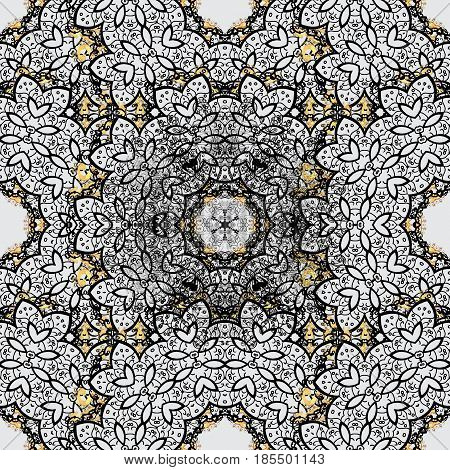 Seamless pattern oriental ornament. Vector dim textile print. Dim pattern on gray background with dim elements. Islamic design. Floral tiles.
