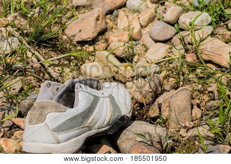 Closeup of single white sports shoe discarded on rocky ground in woodland area of South Korea