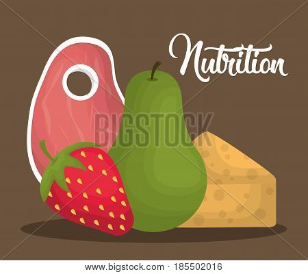 food and fruits icons over brown background. colorful desing. nutrition concept. vector illustration