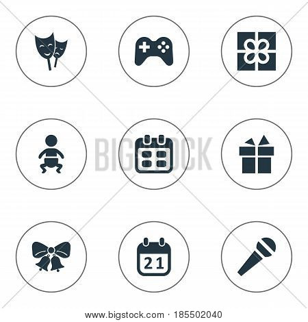Vector Illustration Set Of Simple Birthday Icons. Elements Ribbon, Mask, Game And Other Synonyms Kid, Voice And Ribbon.