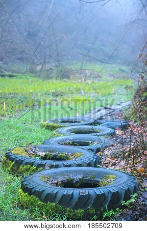 tire polluted water for dry path through the forest