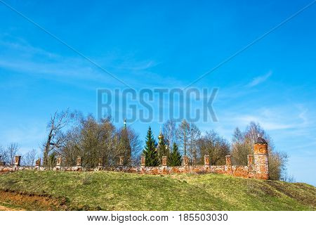 The Old Monastery Walls In The Village Of Goritsy, Shuyskiy Rayon, Ivanovskaya Oblast, Russia.