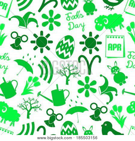 April Month Theme Set Of Simple Icons Seamless Green Pattern Eps10