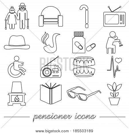 Pensioner Senior Citizen Theme Set Of Outline Icons Eps10
