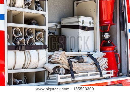 Fire Hoses And Other Fire Fighting Equipment On Fire Engine