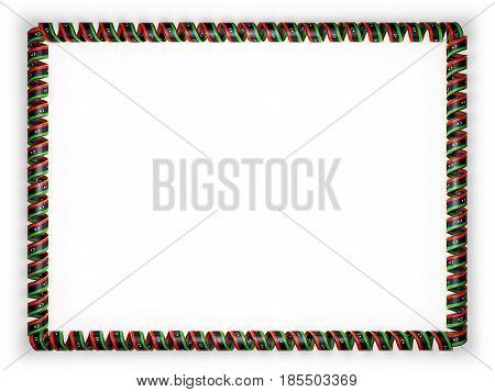 Frame and border of ribbon with the Libya flag edging from the golden rope. 3d illustration