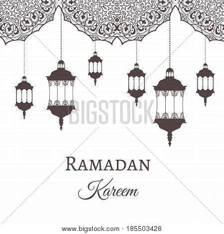 Ramadan Kareem greeting background template arabic design patterns and lanterns, arabic lamp for promotion banner, ads, flyers, invitation, posters, brochure, discount, sale offers. Vector. EPS 10