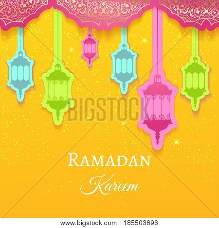 Ramadan Kareem greeting background colored arabic design patterns and lanterns, arabic lamp for promotion banner, ads, flyers, invitation, posters, brochure, discount, sale offers. Vector. EPS 10