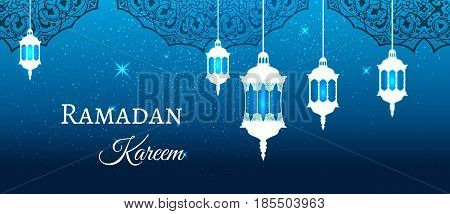 Ramadan Kareem greeting blue evening background arabic design patterns and lanterns, arabic lamp for promotion banner, ads, flyers, invitation, posters, brochure, discount, sale offers. Vector. EPS 10