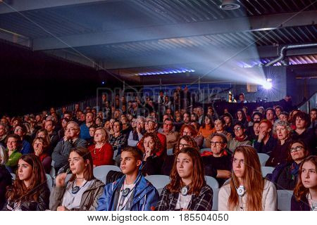 People Watching A Movie At The Cinema Of Bellinzona
