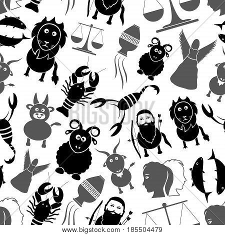 Zodiac Signs For Astrology Set Of Cartoon Animals Icons Seamless Pattern Eps10