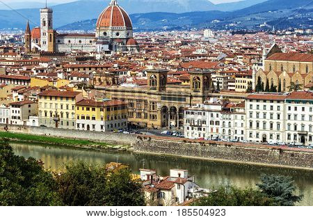 Panoramic view from the Piazzale Michelangelo of beautiful Florence on the banks of Arno River, Italy