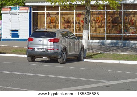 SARANSK, RUSSIA - MAY 07, 2017: Third generation Kia Sportage parked on city street.