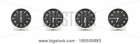 Closeup group of black and white clock with shadow for decorate show the time in 6 6:15 6:30 6:45 a.m. isolated on white background