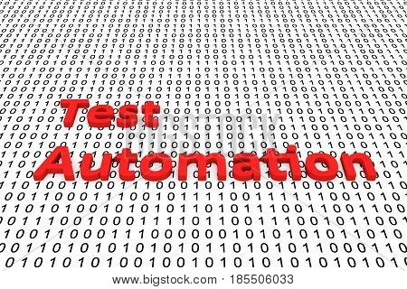 Test automation in the form of binary code, 3D illustration