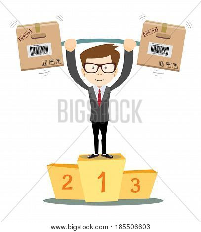 A businessman proudly standing on the winning podium. Number 1. Flat style vector cartoon illustration